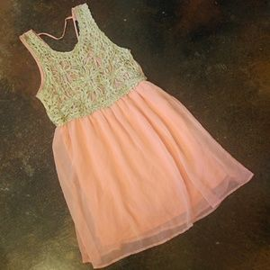Beautiful bright pink and natural cream dress L